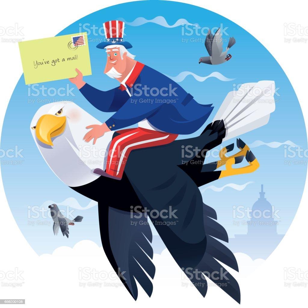 uncle sam holing envelope with bald eagle vector art illustration