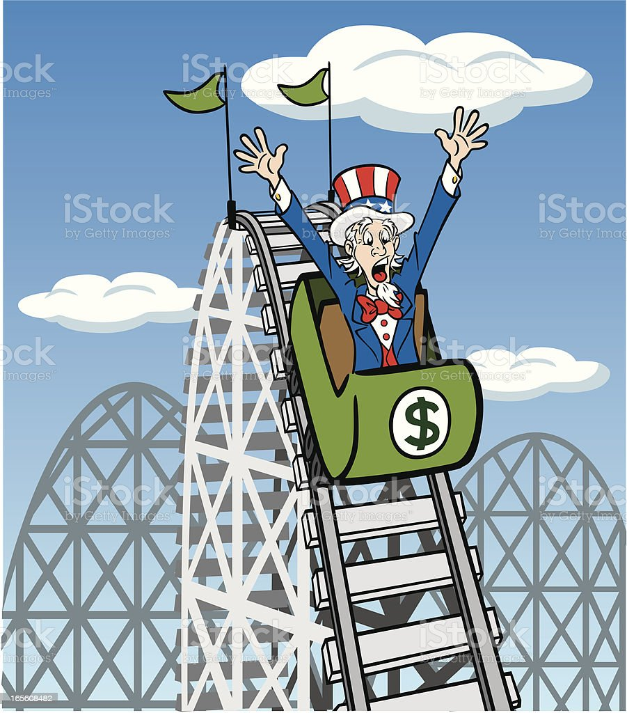 Uncle Sam On Roller Coaster royalty-free stock vector art