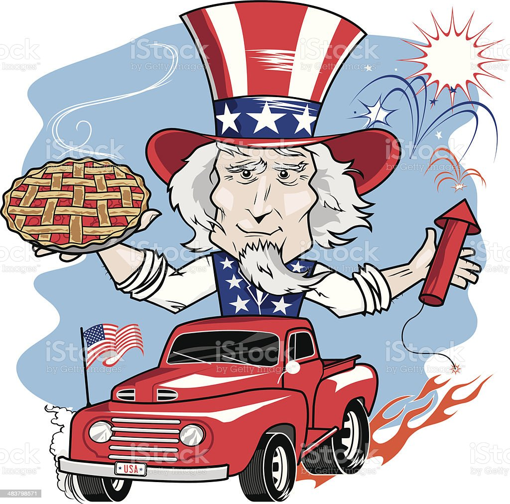 Uncle Sam Parade vector art illustration