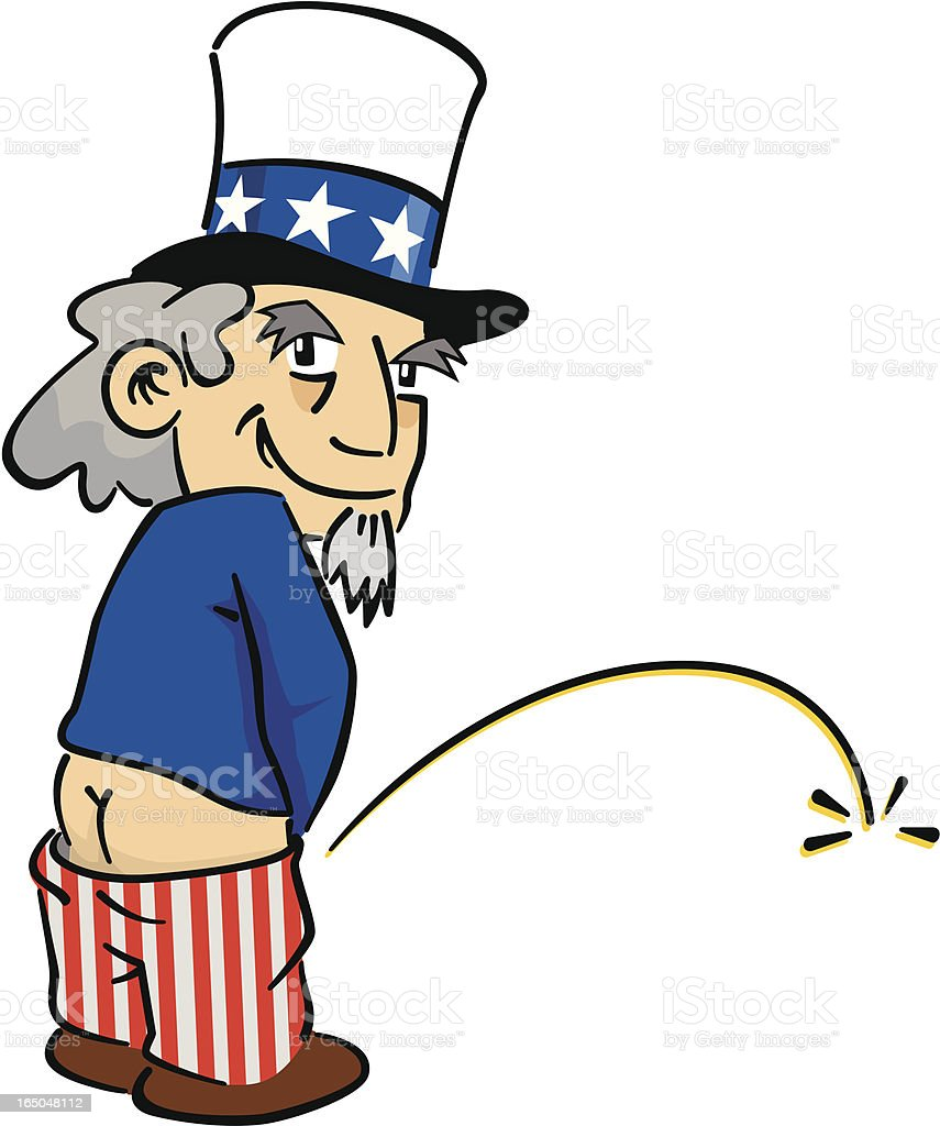 Uncle Sam peeing royalty-free stock vector art