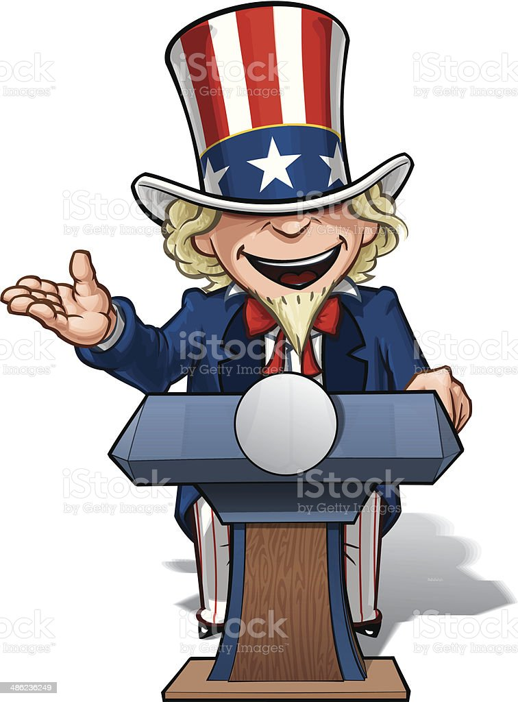Uncle Sam Presidential Podium Open royalty-free stock vector art