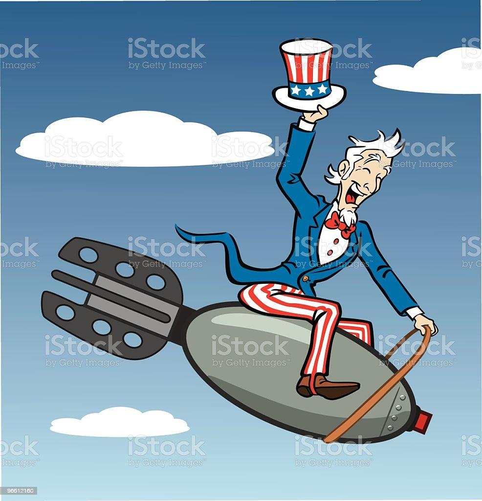 Uncle Sam Riding Bomb vector art illustration