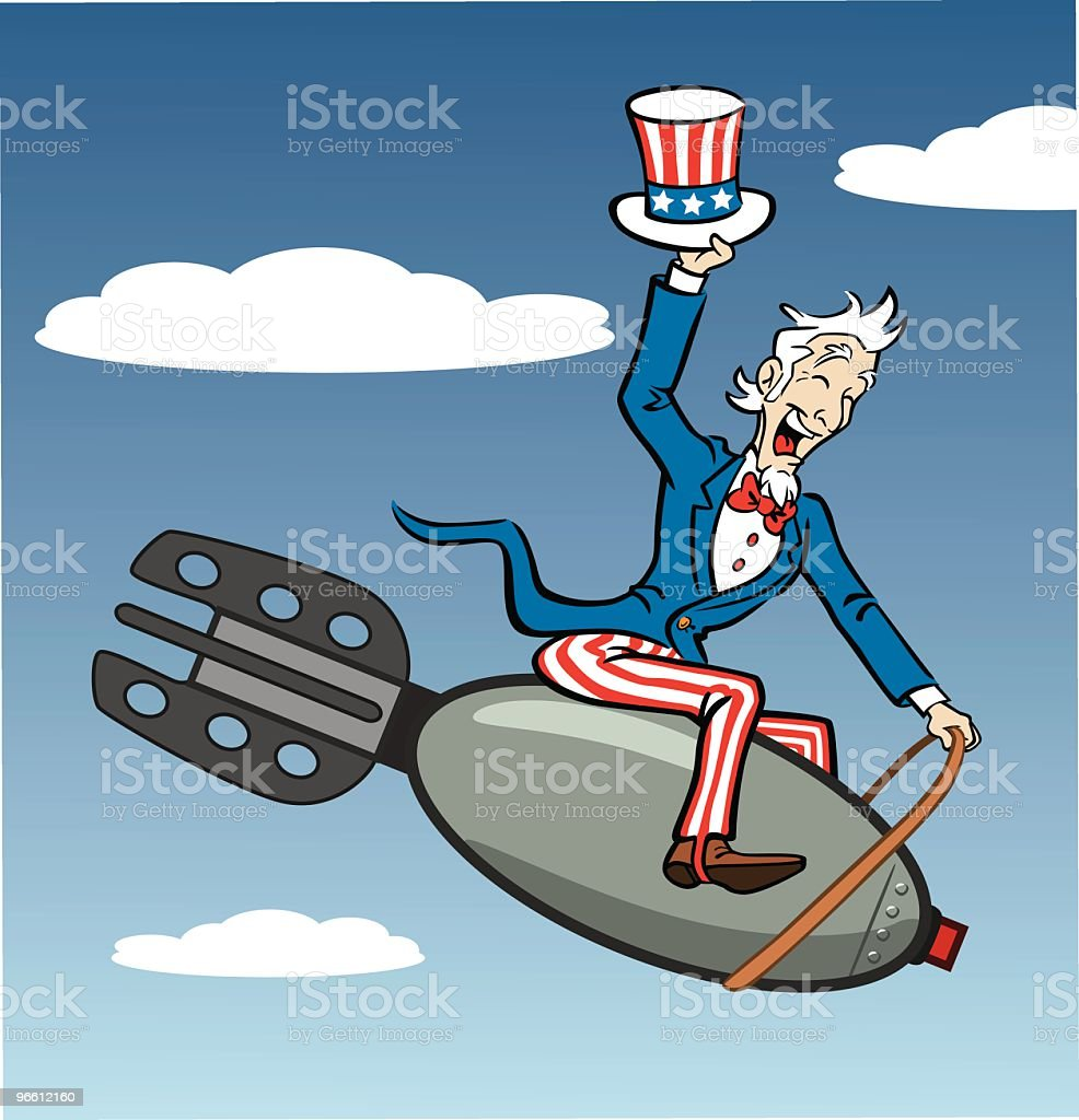 Uncle Sam Riding Bomb vector art illustration