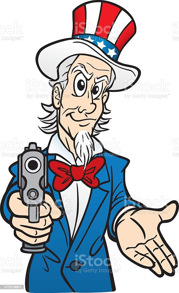 Uncle Sam Robber With A Gun vector art illustration
