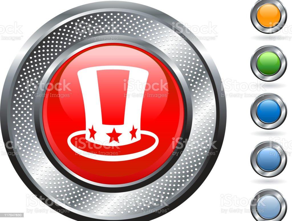 uncle Sam royalty free vector art on metallic button royalty-free stock vector art