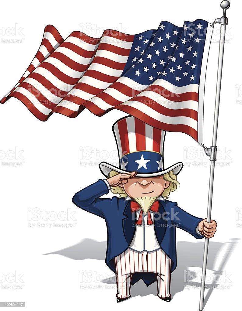 Uncle Sam Saluting the US Flag vector art illustration