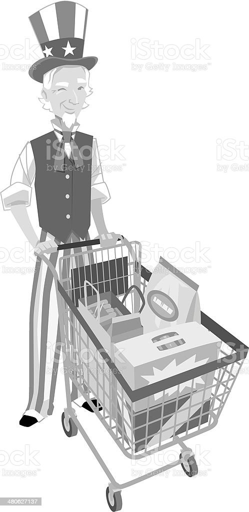 Uncle Sam Shopping royalty-free stock vector art