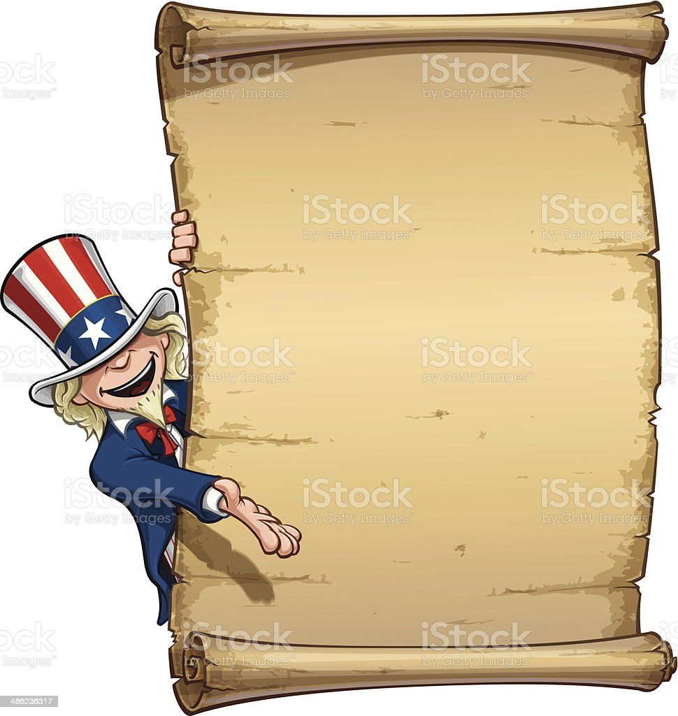 Uncle Sam Showing at Declaration royalty-free stock vector art