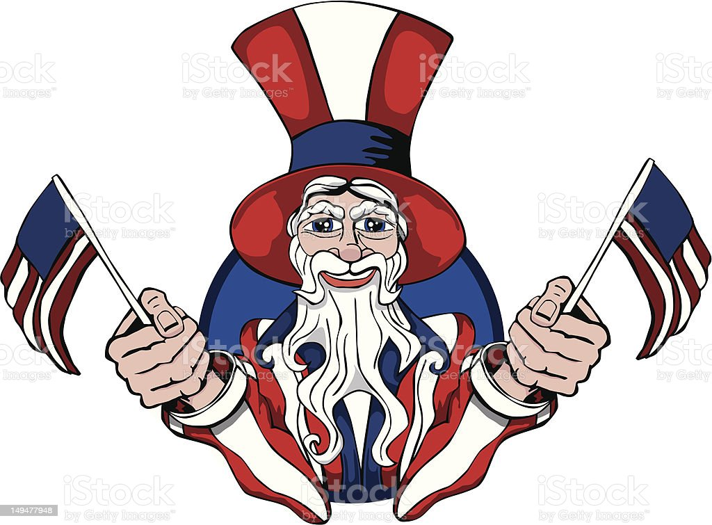 Uncle Sam with flags royalty-free stock vector art