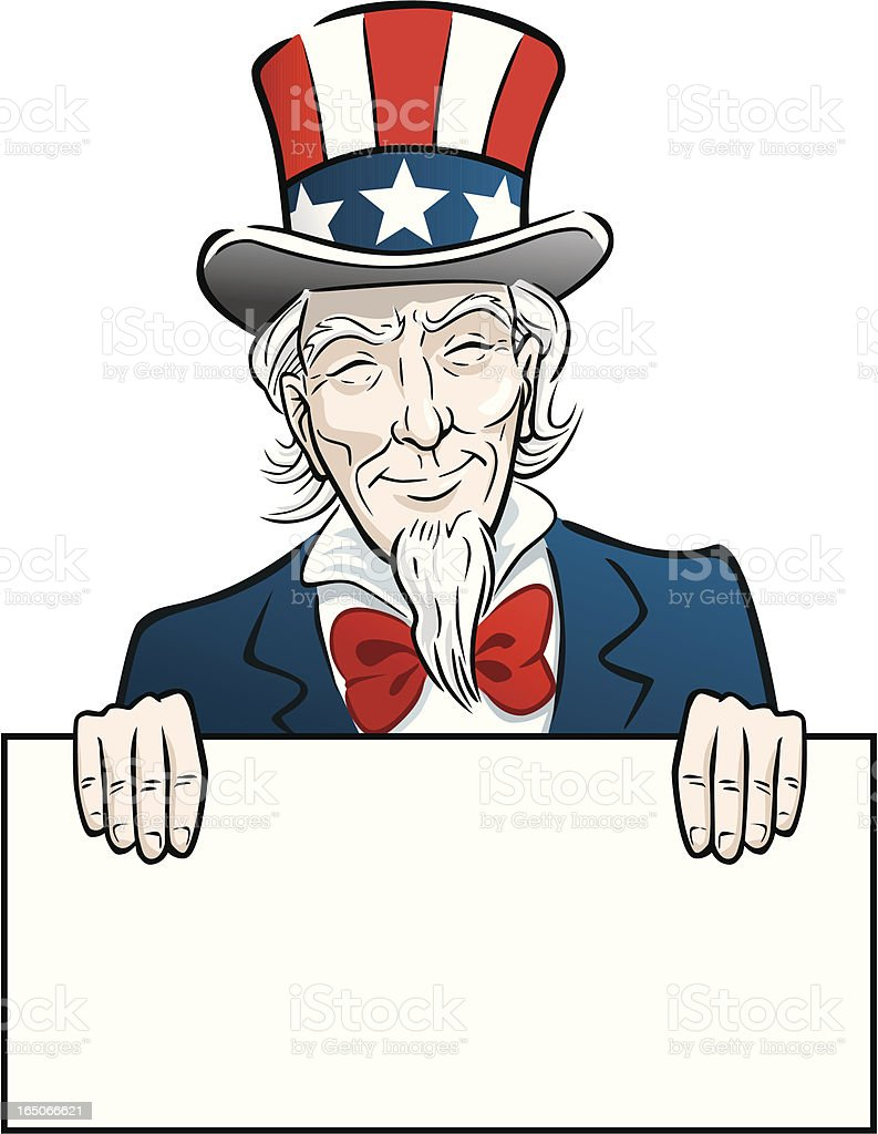 Uncle Sam With Sign royalty-free stock vector art