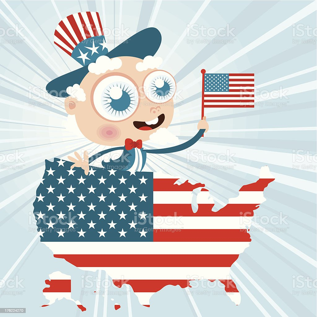 Uncle Sam with US flag and map royalty-free stock vector art