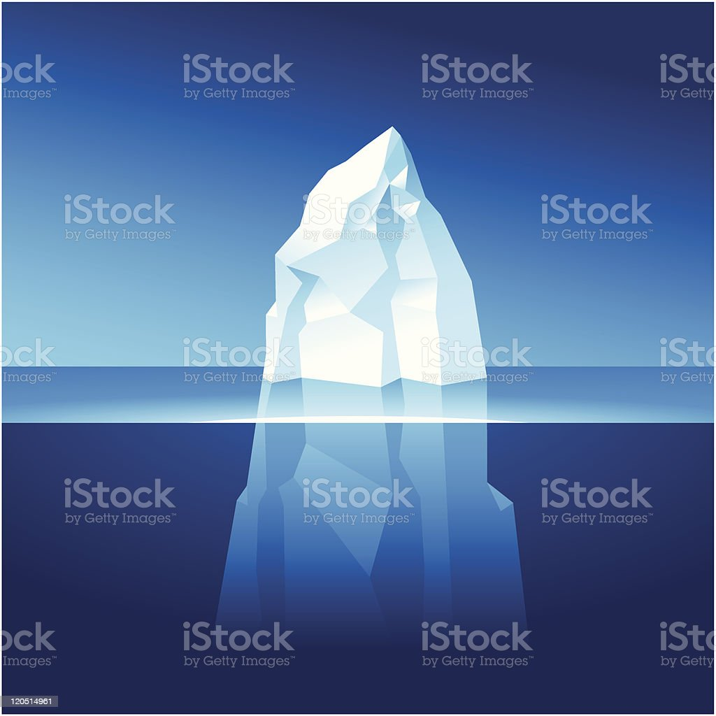 Under and above water part of an iceberg royalty-free stock vector art