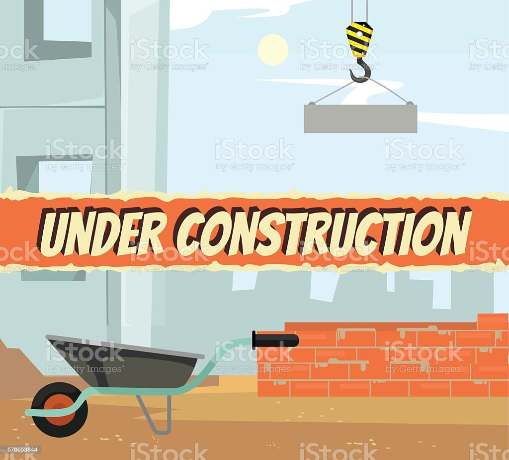 Under construction announcement. Vector flat cartoon illustration vector art illustration