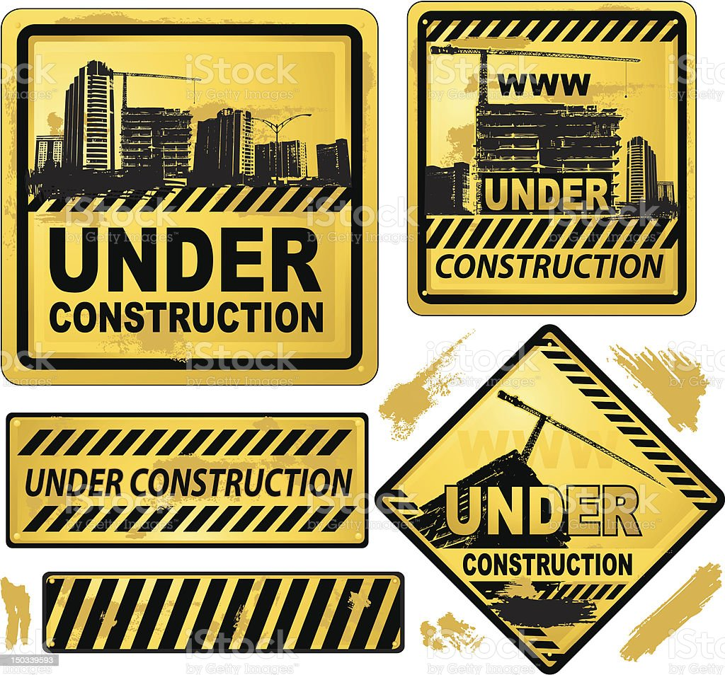 Under construction banner sign royalty-free stock vector art