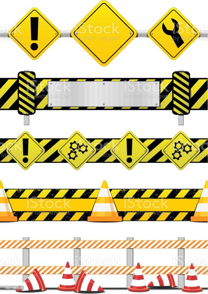 Under construction banners - Seamless royalty-free stock vector art