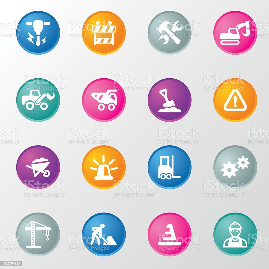 Under Construction Circle Color Icons vector art illustration