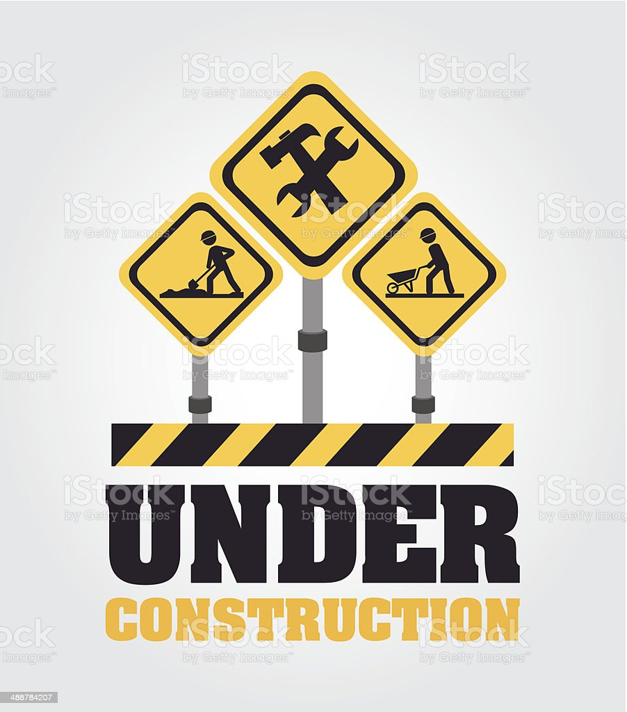 Under Construction design vector art illustration