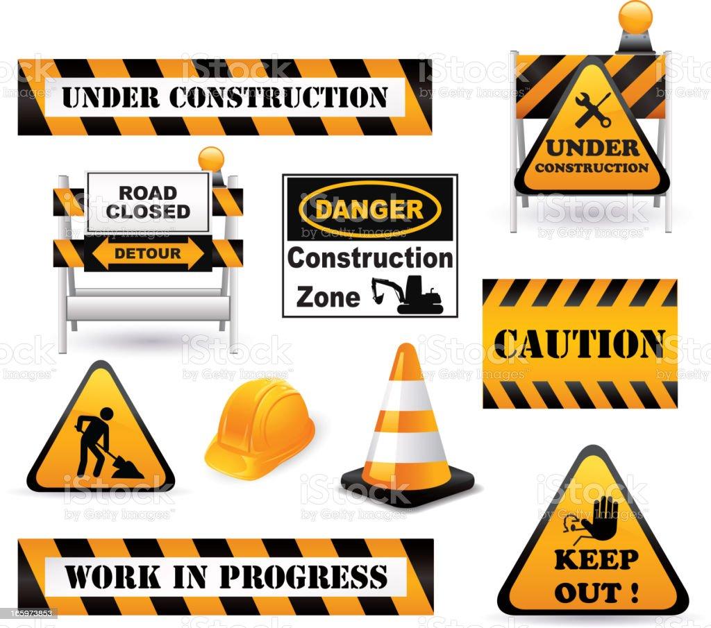 Under construction elements vector art illustration