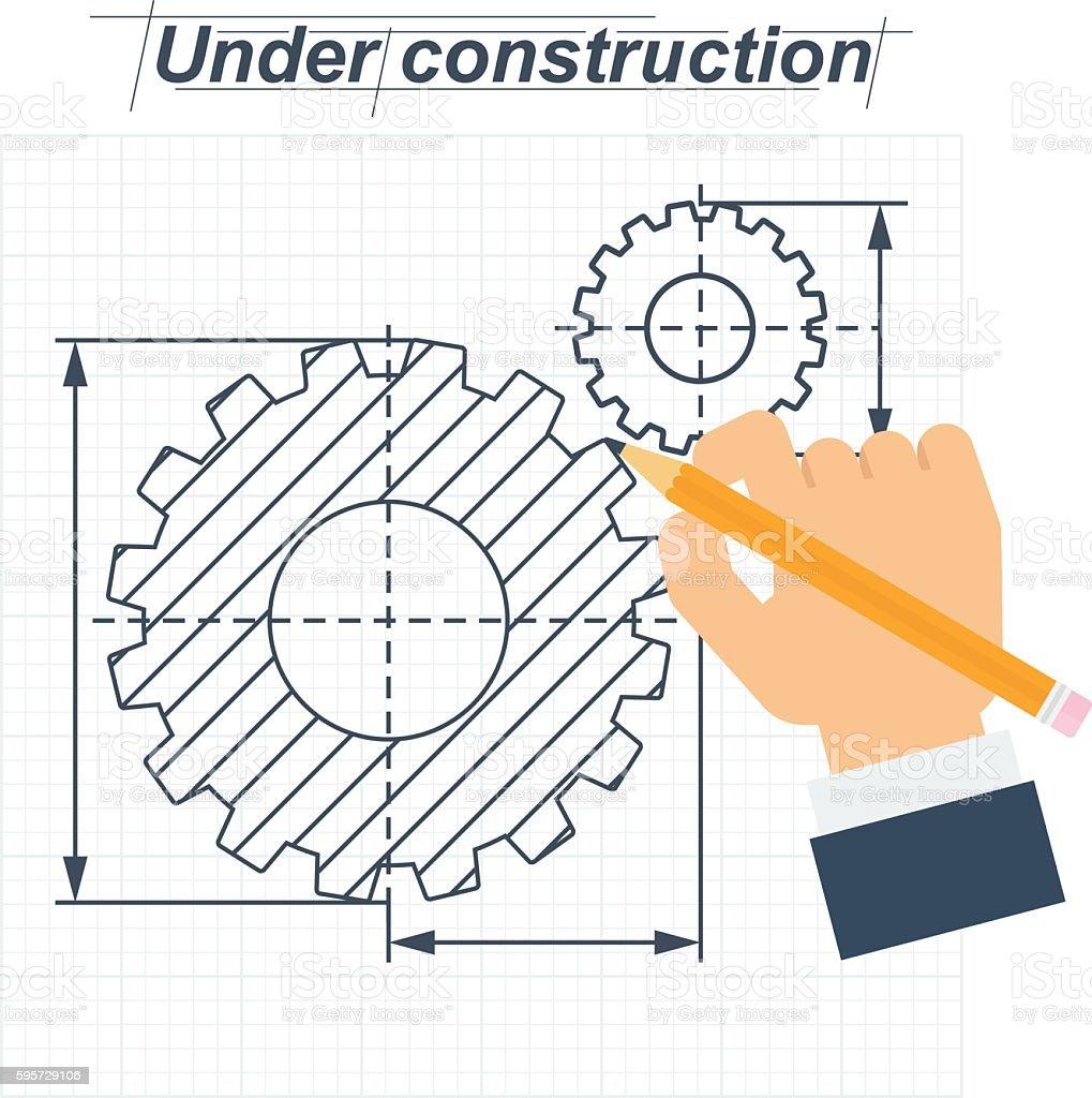 under construction hand drawing vector art illustration