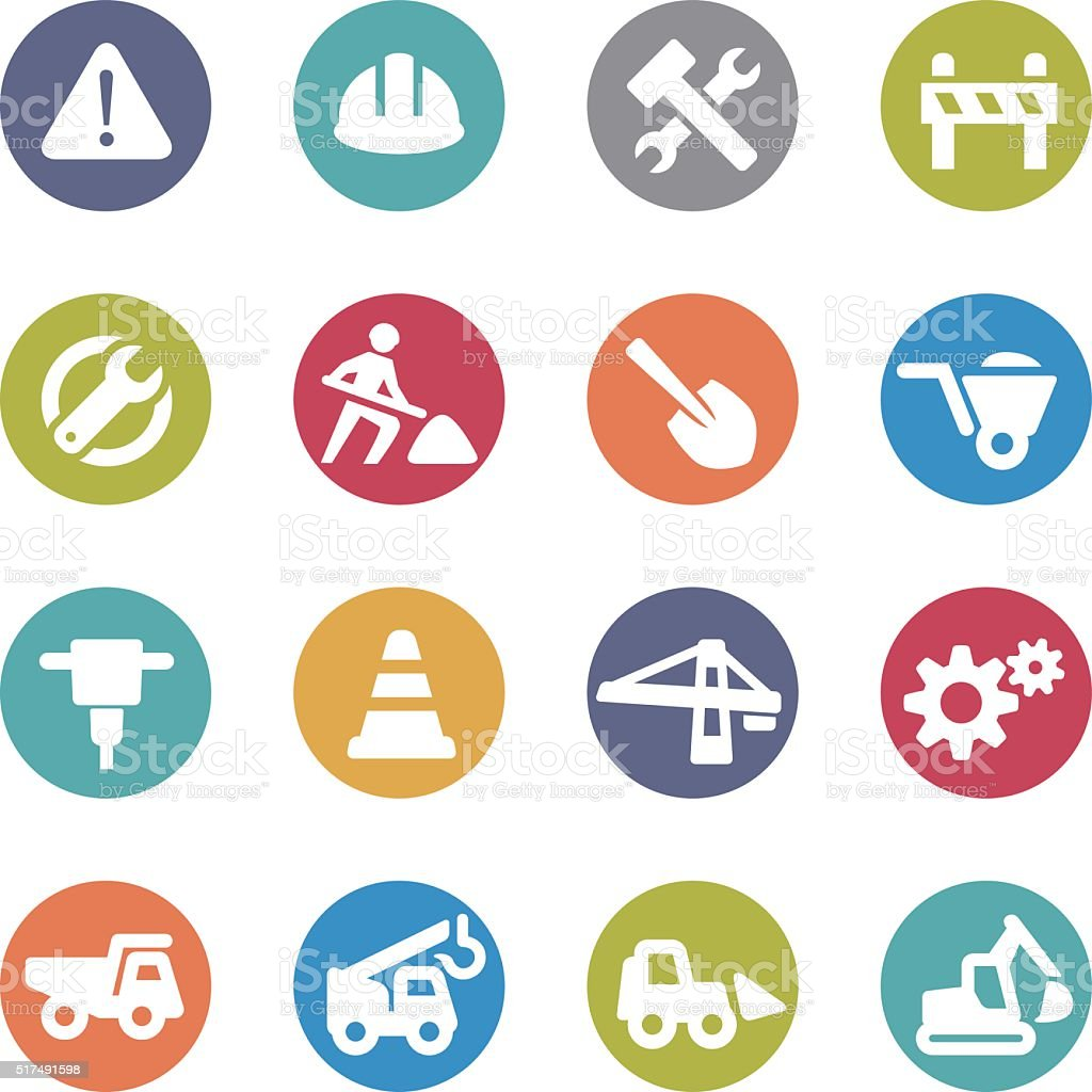 Under Construction Icons - Circle Series vector art illustration