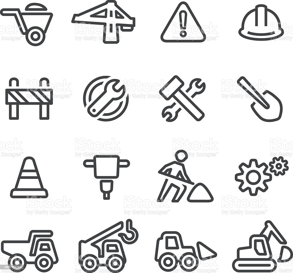 Under Construction Icons - Line Series vector art illustration