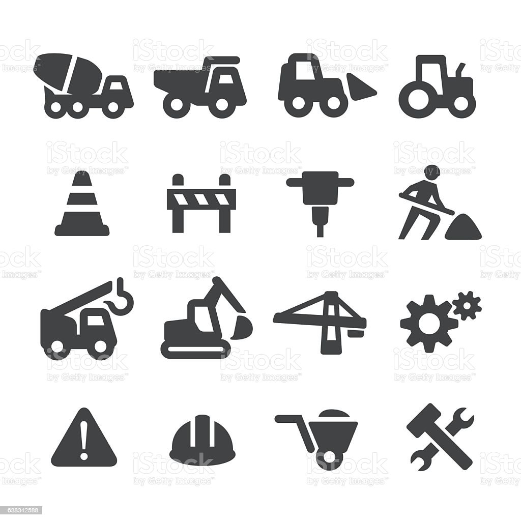 Under Construction Icons Set - Acme Series vector art illustration