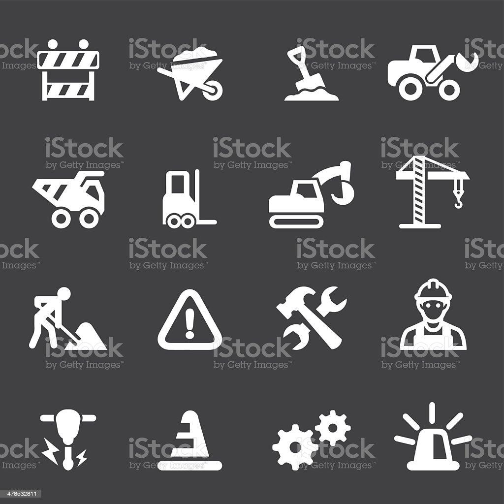 Under Construction Mono icons vector art illustration