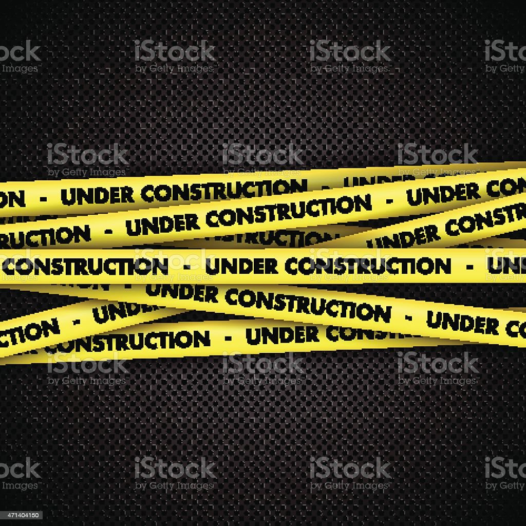 Under construction on tape on metal background vector art illustration