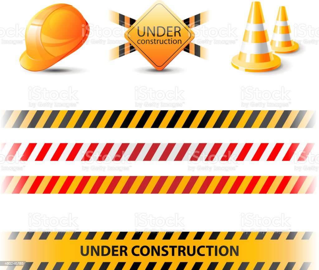 Under construction ribbons and design elements vector art illustration