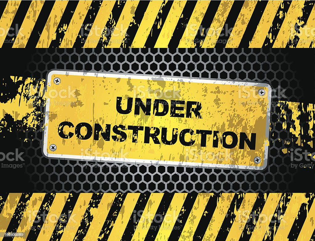 Under construction sign on a fence with warning strips vector art illustration