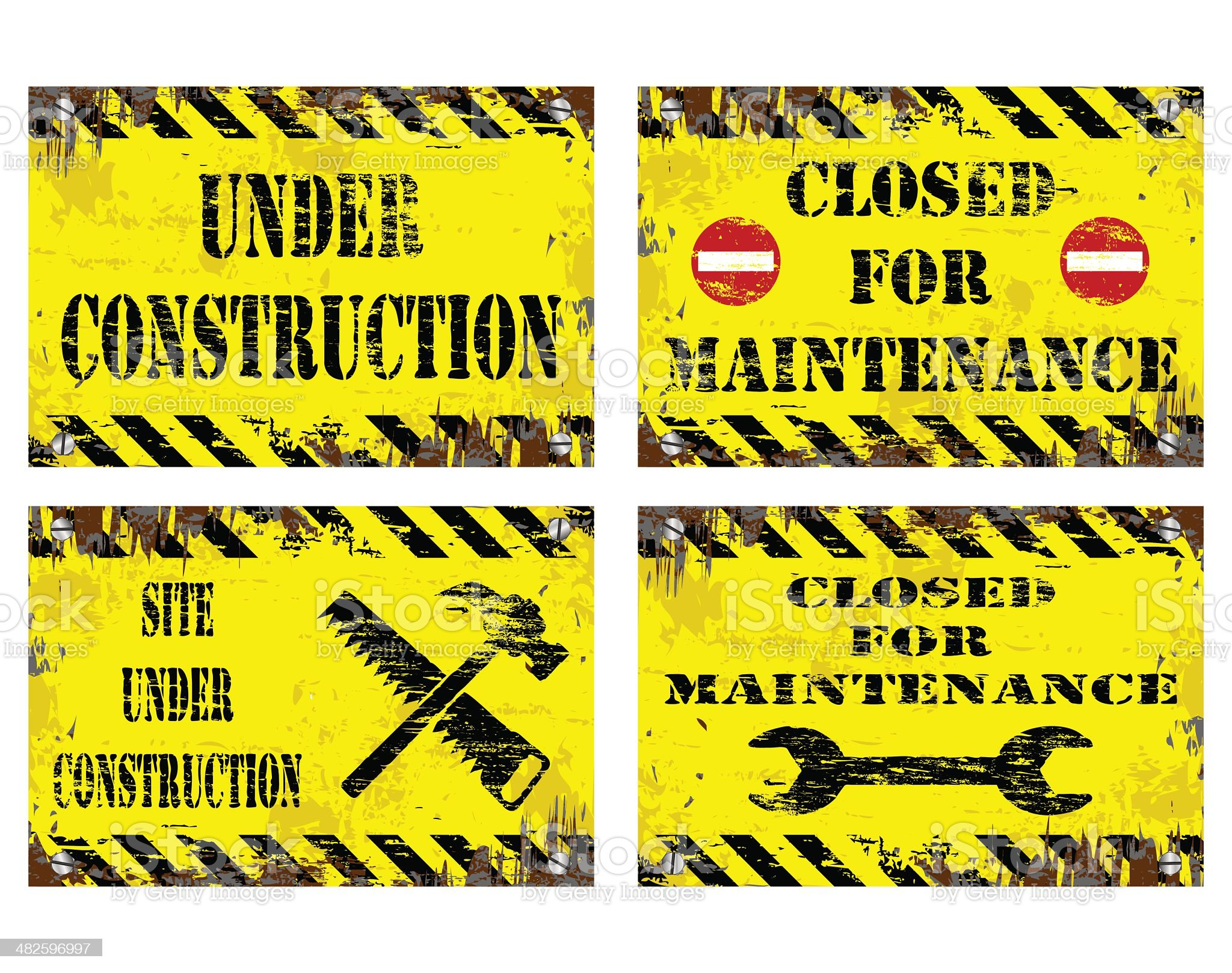 Under Construction Signs royalty-free stock vector art