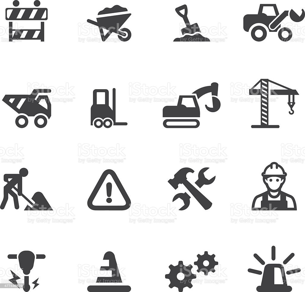 Under Construction Silhouette icons vector art illustration