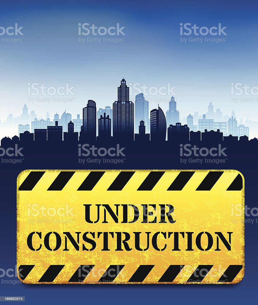 Under Construction Work Street Sign with skyline panoramic royalty-free stock vector art