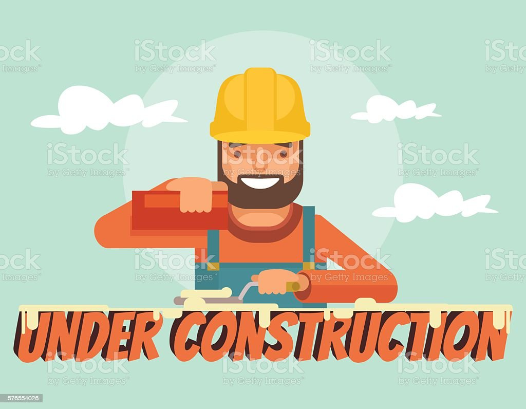 Under construction. Worker character. Vector flat cartoon illustration vector art illustration