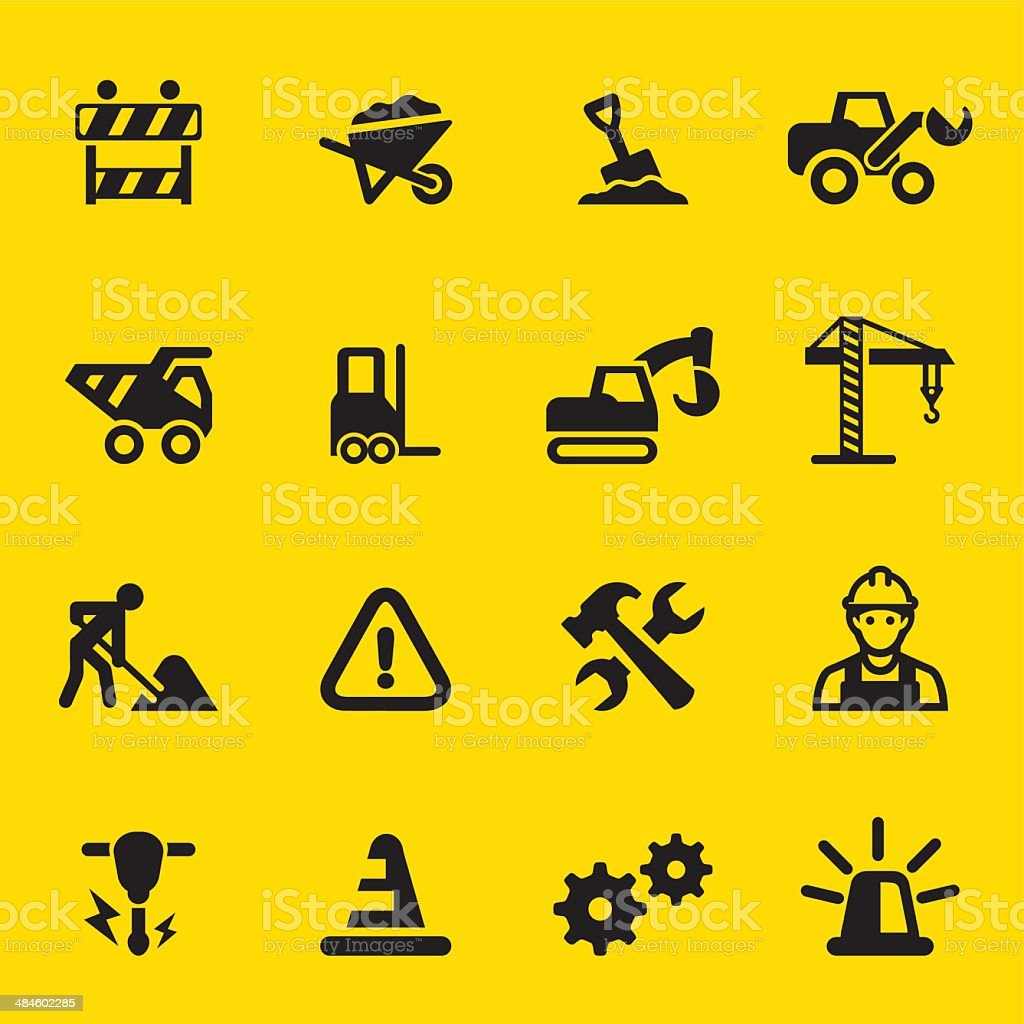 Under Construction Yellow Silhouette icons vector art illustration