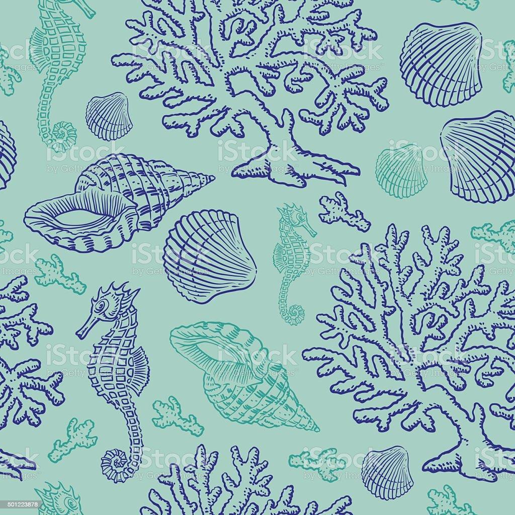 Under Sea Seamless vector art illustration