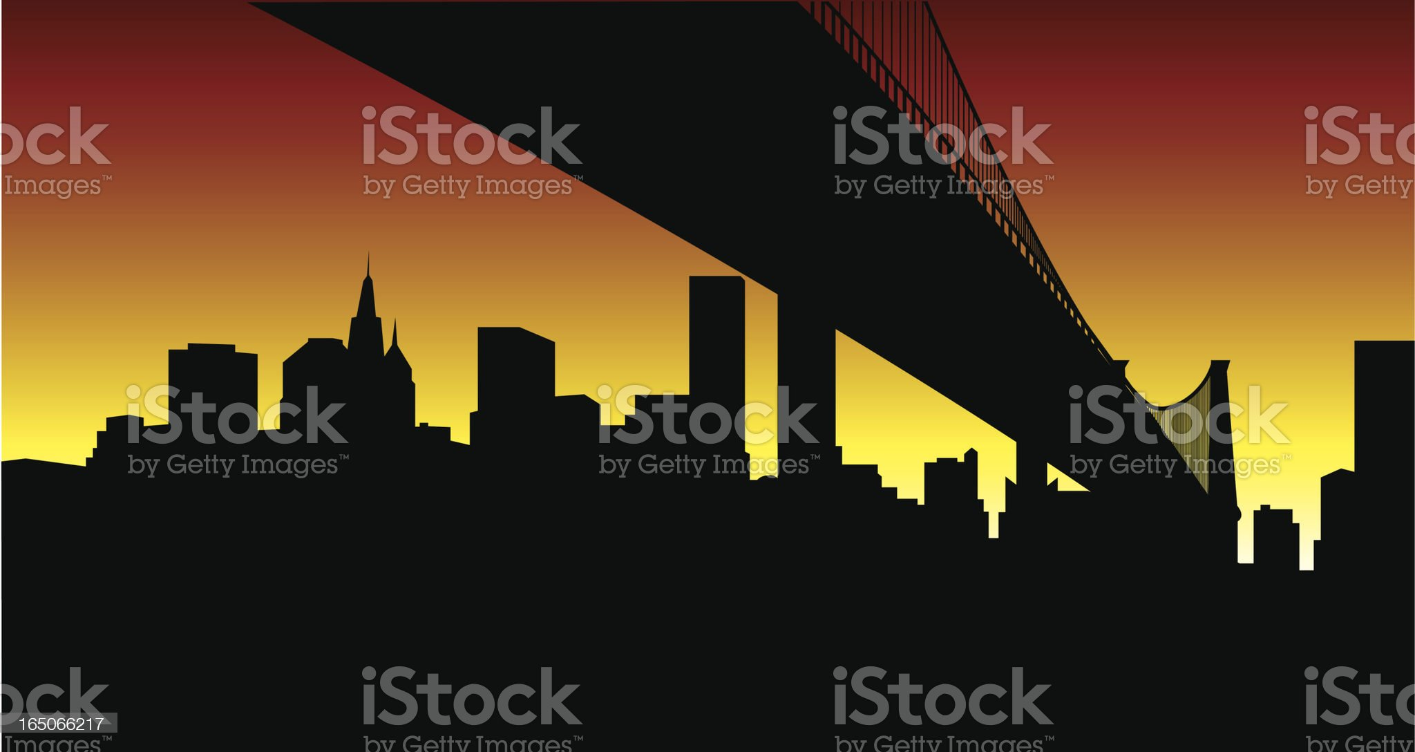 Under the Bridge... New York City Skyline royalty-free stock vector art
