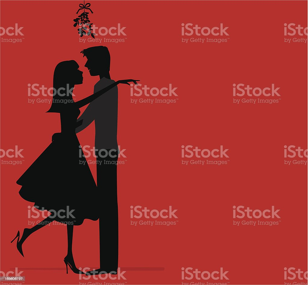 Under the Mistletoe royalty-free stock vector art
