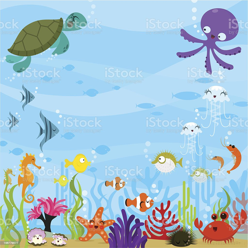Under the sea vector art illustration
