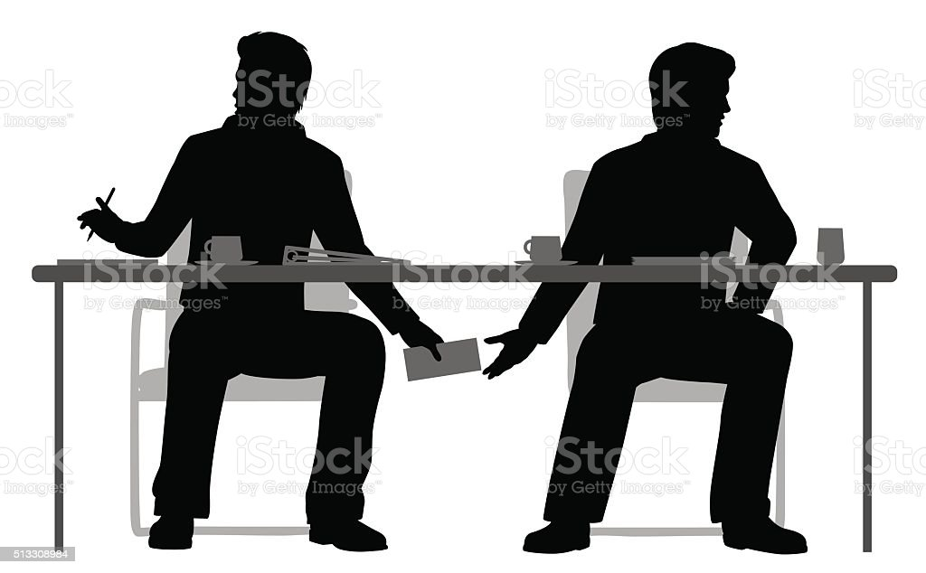 Under the table deal vector art illustration