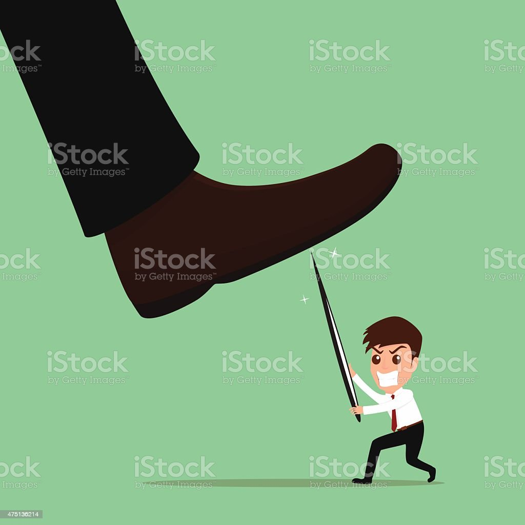 Underdog businessman fighting against repression and injustice. vector art illustration