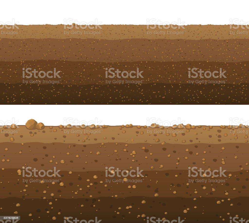 Underground layers of earth, seamless ground surface design. vector art illustration