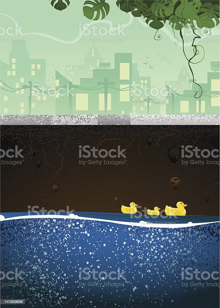Underground Sewer with Ducks Swimming royalty-free stock vector art