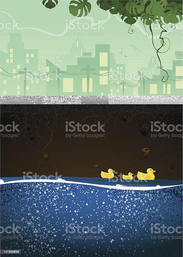 Underground Sewer with Ducks Swimming vector art illustration