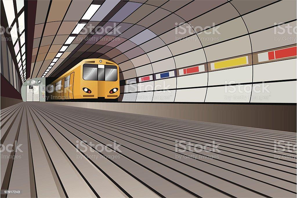 Underground train tunnel (vector & jpeg) royalty-free stock vector art
