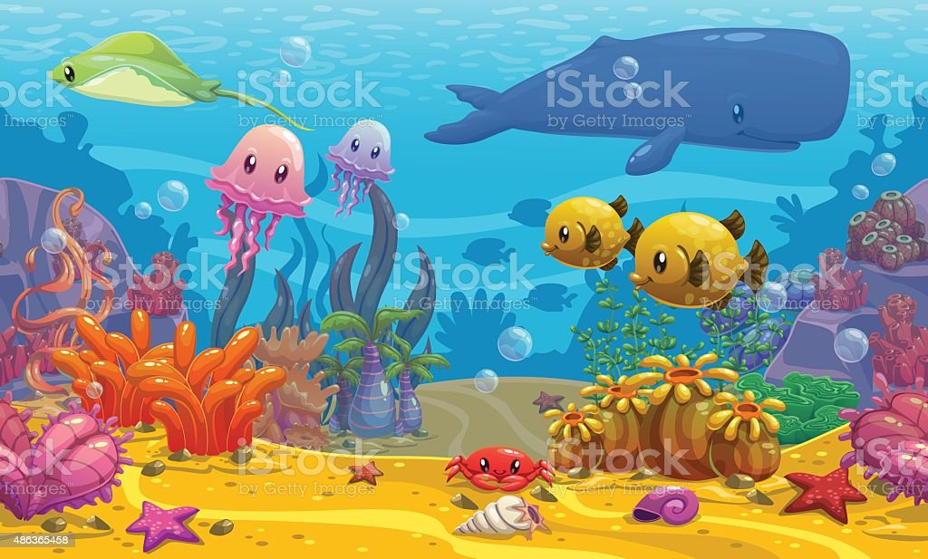 Undersea landscape vector art illustration