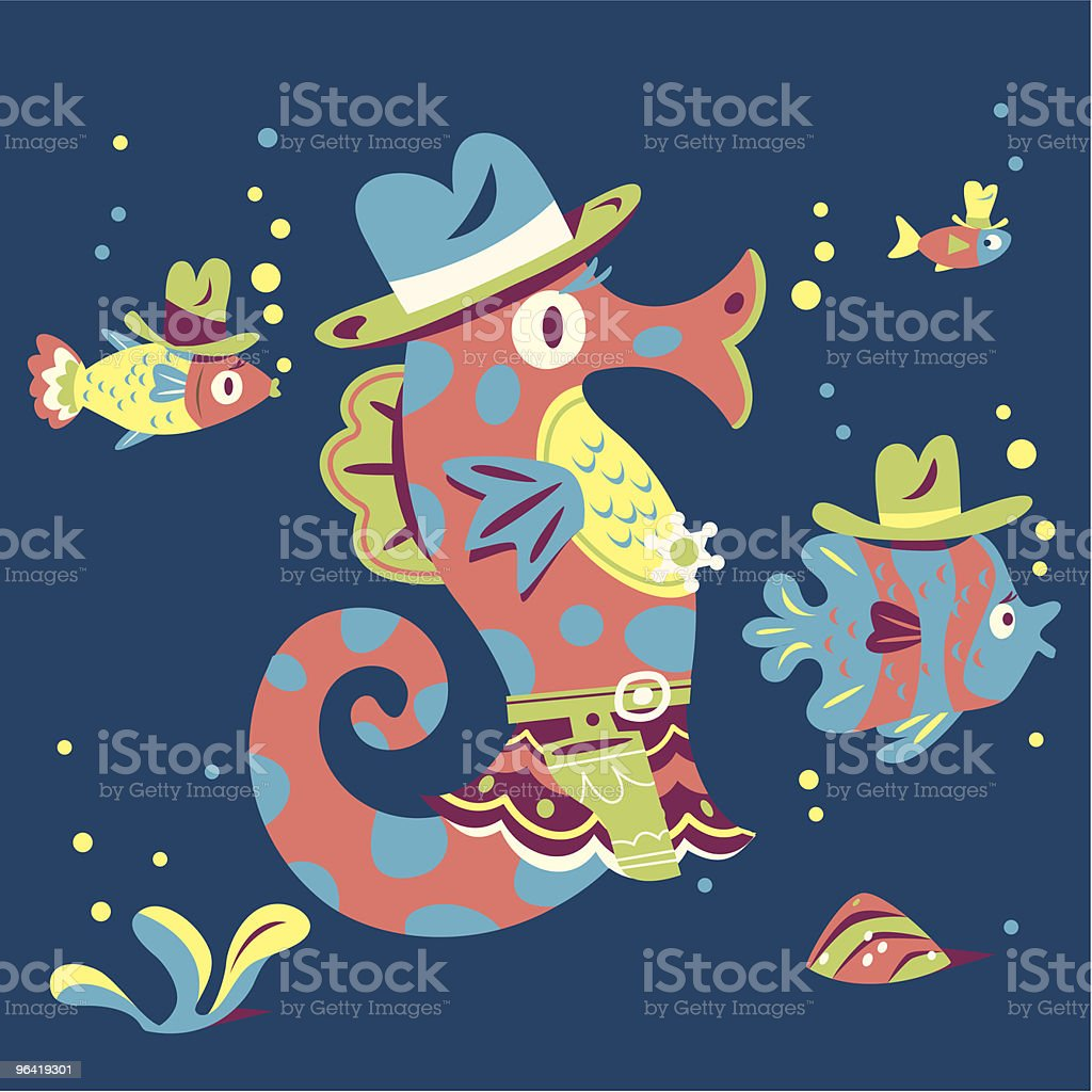 Undersea Posse vector art illustration