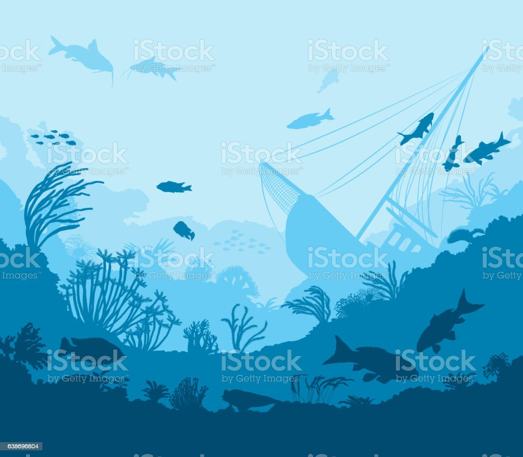 Undersea world, coral reef and sea creatures vector art illustration