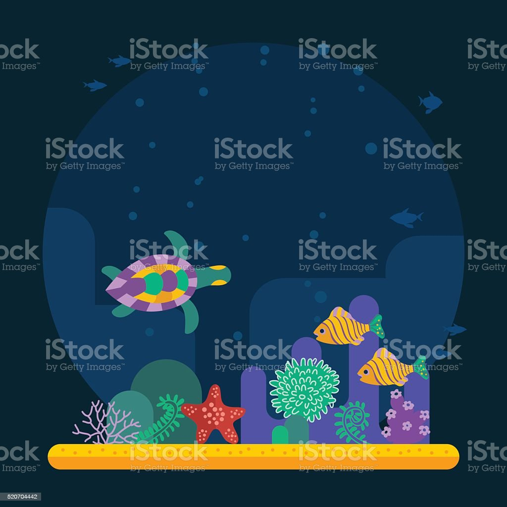 Underwater background coral garden with glossy water surface col vector art illustration