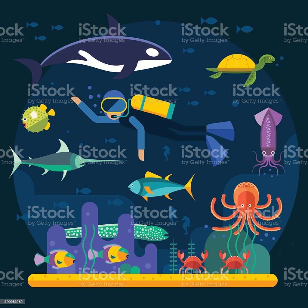 Underwater background coral garden with glossy water surface colorful fish vector art illustration
